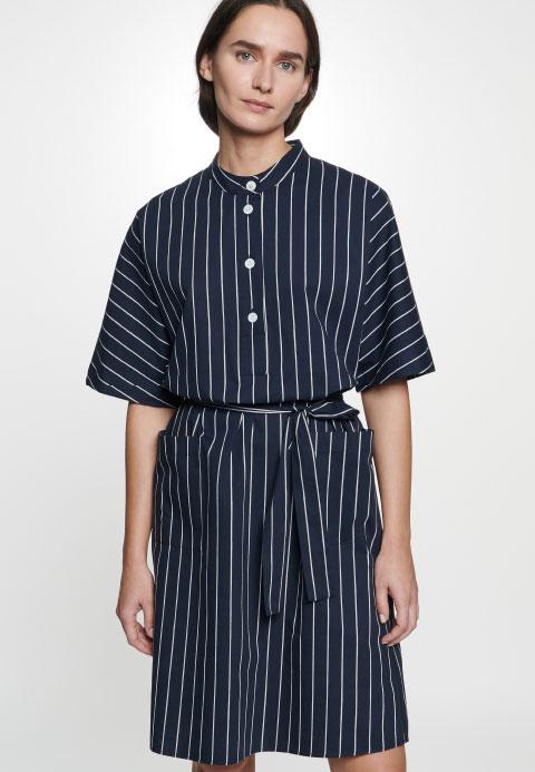 Popeline Midi Kleid aus Leinenmischung